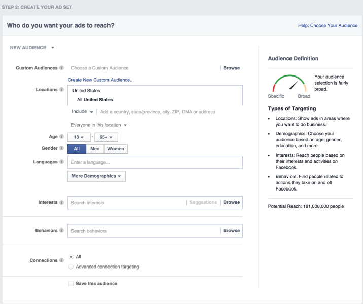 Facebook Ads Targeting Options