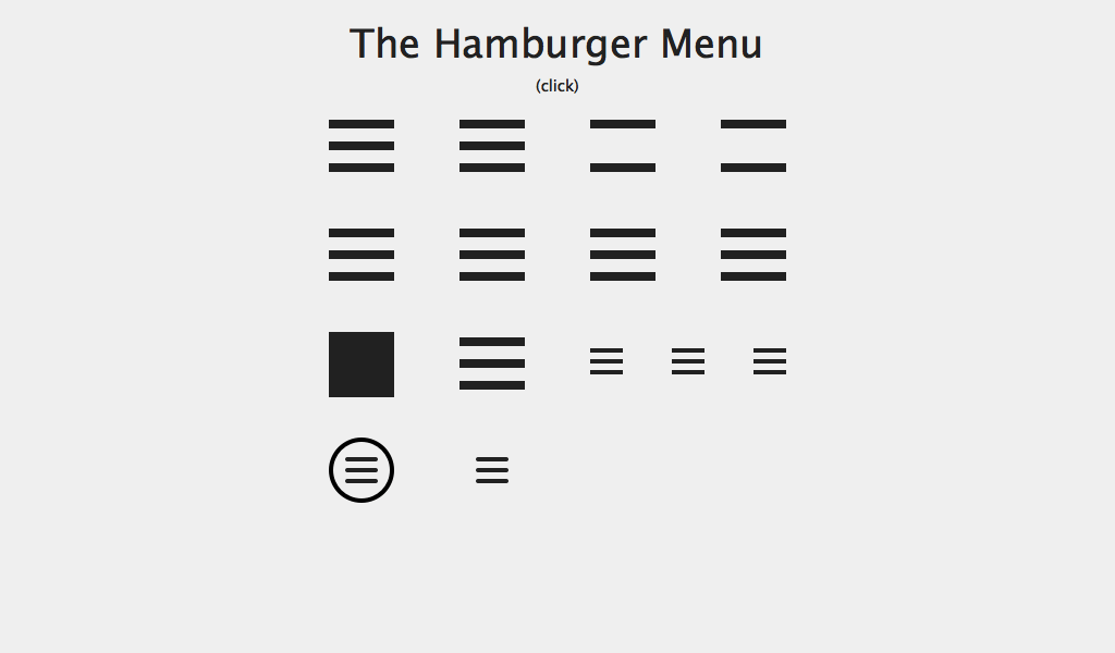 hamburger menus for mobile navigation